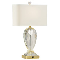 Christal 27 inch 100 watt Clear and Brass Table Lamp Portable Light