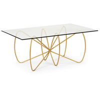Jennings 48 inch Antique Gold Leaf and Clear Cocktail Table Home Decor
