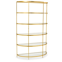 Chandler Antique Gold Leaf and Clear Etagere
