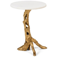 Woody 22 X 16 inch Antique Gold Leaf and White Side Table