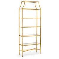 Wildwood 490062 Clancy 82 X 32 inch Antique Gold Leaf and Clear Etagere