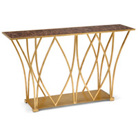 Cliton 58 inch Antique Gold Leaf and Faux Mocha Marble Console Table Home Decor