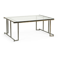 Benson 48 inch Raw Steel and Clear Cocktail Table Home Decor