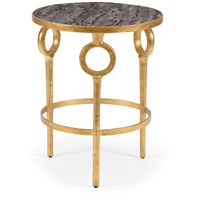Hudson 20 inch Antique Gold Leaf and Faux Grey Marble Side Table Home Decor