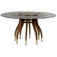 Wildwood Lamps 490213 Davinci 60 X 31 inch Walnut and Clear Glass Dining Table