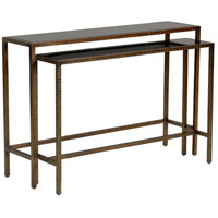 Aiden 48 inch Aged Bronze and Black Nested Console Tables, Set of 2