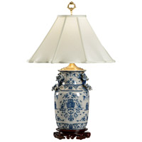 Wildwood Lamps Blue White With Dragons Table Lamp in Hand Painted Overglaze Porcelain 5221