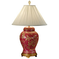 Wildwood Lamps GoldN Red Damask Table Lamp in Hand Painted Porcelain 5304 photo thumbnail