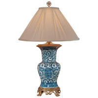 Crest In Blue 30 inch 100 watt Hand Painted Porcelain Table Lamp Portable Light