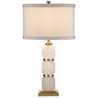 Rock Diamonds 28 inch 100 watt Antiqued Solid Brass Table Lamp Portable Light