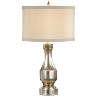 Silver 30 inch 100 watt Aged Silver Leaf With Gold Accents Table Lamp Portable Light
