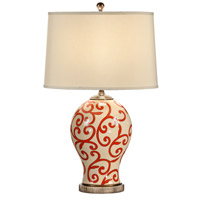 Wildwood Lamps Red Scrolls Table Lamp in Hand Painted Crackle Porcelain 60061 photo thumbnail