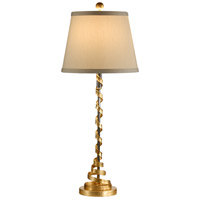 Just Enough Ribbon 35 inch 100 watt Gold Leaf Table Lamp Portable Light