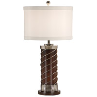 Wildwood Lamps Wrapped Cylinder Table Lamp in Wood Cylinder With Polish Nickel 60233