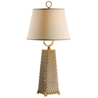 Wildwood Lamps Miscellaneous 1 Light Dotted Pyramid With Ring Lamp Hand Glazed Table Lamp in Porcelain With Brass 60275 photo thumbnail