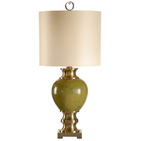 Wildwood Lamps Miscellaneous 1 Light Green With Promise Lamp Hand Decorated Ceramic Table Lamp in Champaign Bronze Accents 60281