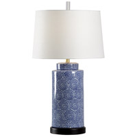 Abigail 31 inch 100 watt Blue and White with Black Table Lamp Portable Light