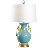 Tori 30 inch 100 watt Blue and Gold Leaf Table Lamp Portable Light