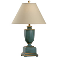 Old Washed Urn 30 inch 100 watt Hand Painted and Worn Teal Table Lamp Portable Light