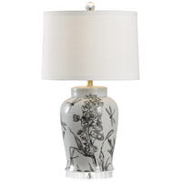 Hollyhock 29 inch 100 watt Hand Painted Grey and Charcoal with Clear Table Lamp Portable Light