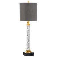 60636 Wildwood Wildwood 35 inch 100 watt Clear and Black with Gold Leaf Buffet Lamp Portable Light