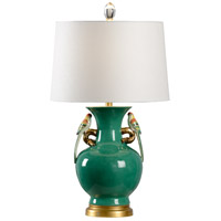 Tori 30 inch 100 watt Green and Gold Leaf Table Lamp Portable Light