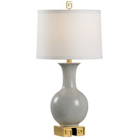 Choi 28 inch 100 watt Grey and Antique Gold Leaf Table Lamp Portable Light