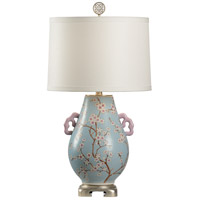 Sakura 30 inch 100 watt Handpainted Floral and Antique Silver Leaf Table Lamp Portable Light