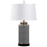 Wildwood 60735 Triad 32 inch 100 watt Black and White Glaze Table Lamp Portable Light