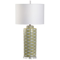 60913 Wildwood Wildwood 100 watt Yellow/White/Blue Glaze Table Lamp Portable Light