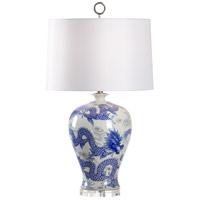 60921 Wildwood Wildwood 31 inch 100 watt Blue/White Glaze Table Lamp Portable Light
