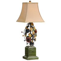 Flowers 24 inch 60 watt Hand Decorated Florentine Ironwork Table Lamp Portable Light