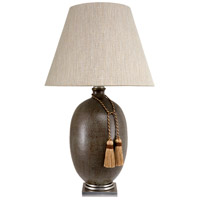 Glendale 38 inch 150 watt Antique Gray Hand Hammered Ovoid Table Lamp Portable Light