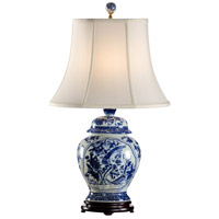 Fledgling 27 inch 100 watt Blue And White Table Lamp Portable Light