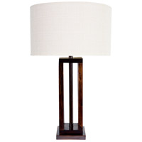 Hollywood 31 inch 150 watt Brown Wood And Bronze Table Lamp Portable Light