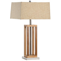 Wrightwood 29 inch 150 watt Brown Wood And Nickel Table Lamp Portable Light