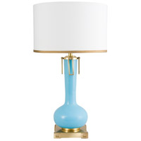 Wildwood Lamps Blue Eden Table Lamp in Blue And Antique Brass Finish 65251