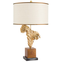 Wildwood Lamps 65260 Larry Laslo 31 inch 100 watt Gilded Curled Feather On Wood Plinth Table Lamp Portable Light