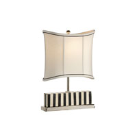 Black and White Bone 19 inch 100 watt Polished Nickel Table Lamp Portable Light