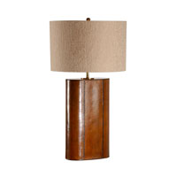 Stiched Leather Oval 32 inch 100 watt Hand Stitched Leather Table Lamp Portable Light