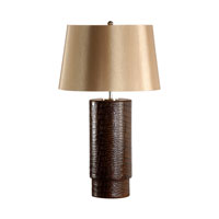 Croco Cylinder 29 inch 100 watt Real Leather Table Lamp Portable Light