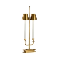 Wildwood 65686 Larry Laslo 34 inch 40 watt Antique Brass Table Lamp Portable Light, Frederick Cooper