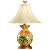 Wildwood Lamps Gathered Vase Table Lamp in Antique Gold Wood Base 6614