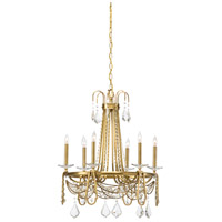 Raymond Waites 6 Light 25 inch Antique Brass Chandelier Ceiling Light