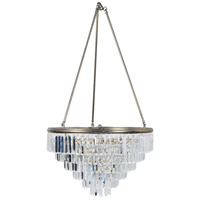 Luxor 6 Light 24 inch Antique Silver Leaf and Clear Chandelier Ceiling Light