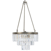 Luxor 3 Light 15 inch Antique Silver Leaf and Clear Pendant Ceiling Light