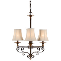 Casual 3 Light 17 inch Old Bronze Patina On Iron Chandelier Ceiling Light