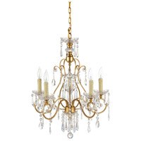 Crystal 5 Light 20 inch Gold Chandelier Ceiling Light