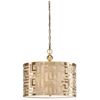 67045 Wildwood Wildwood 3 Light 30 inch Antique Brass/Natural Linen Pendant Ceiling Light
