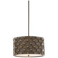 Wave 3 Light 22 inch Metal and Linen Pendant Ceiling Light